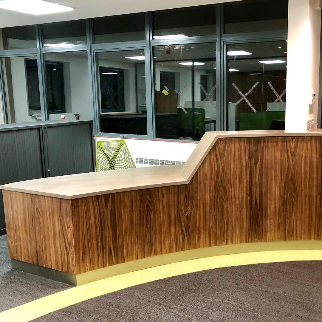 Beautiful Walnut and Corian reception desk